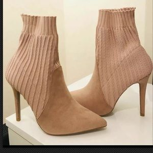Qupid Blush pink knitted/suede sock bootie
